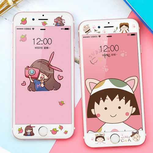 4.7/5.5 Tempered Glass Bling Colorful Plating Cartoon Full Screen Tempered Glass Front For iPhone 6/iPhone 6 Plus Cell Phone Protective 9H Film