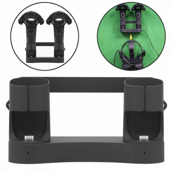 Magnetic Charging Dock for HTC VIVE Controllers With A Foldable Hanger For Your Helmet, Black