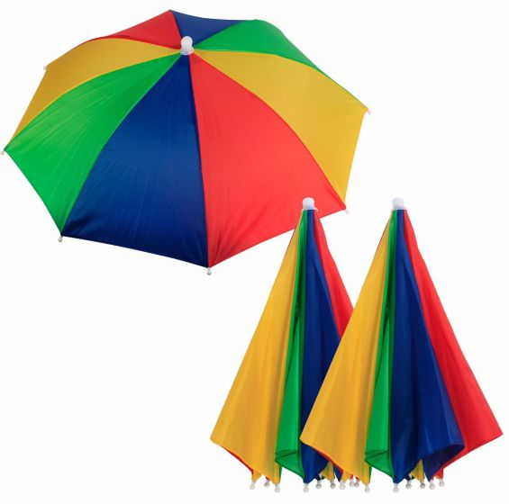Umbrella Hat Multi Colour Head Umbrella For Outdoor Fishing Camping Hiking Beach Golf-Pack of 3