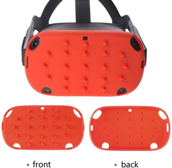 Silicone Protective Headset Cover Case Compatible for Oculus Quest Front Face, Shock-Resistant for Virtual Reality Headset - Orange