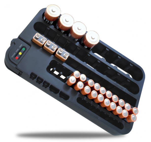 Durable Battery Organizer(hold up to 72 Batteries) with Removable Battery Tester, Perfect Solution for Home Storage