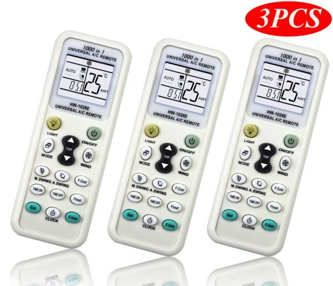 1000 in 1 Universal A/C Remote Controller for Air Conditioner with Lighting Function-Pack of 3