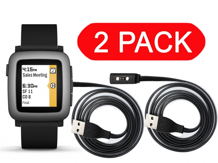 Replacement Charger for Smart Watch Pebble Time/ Time Steel / Time Round Smart, Inside Build in Protection Chip, 2 Pack