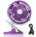4'' Mini USB Clip Fan Desk Fan 360 Shake Adjustable Speed Strong Wind Fan-Purple