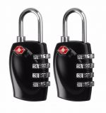 2 Pcs TSA 4 dial Combination Security Padlock Code Lock for Travel Suitcase Luggage (BLACK)