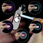 New USB Rechargeable Spinner With Electronic Cigarette Lighter and LED Anti-Anxiety Stress Reducer Toys-Black