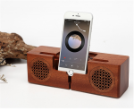 New Cool Wooden Bluetooth Speaker with Phone Holder Charging Stand, Hand-Crafted Wireless Speaker, Brown