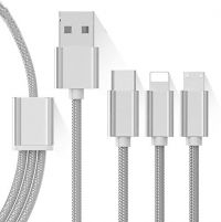3 in 1 Nylon Braided Micro USB,Type-C & Lightning Data Cable for Micro USB/Type-C/Iphone Device