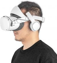 Premium Deluxe Audio Strap for Oculus Quest 2 -Improved Audio Experience and Comfortability (White)