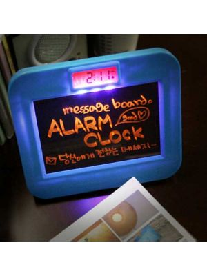 LED Alarm Clock with Message Board, Highlighter Included-Blue