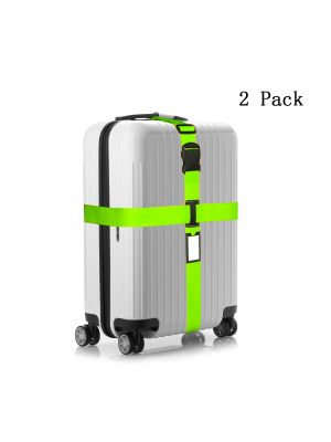 Set of 2 Pcs Adjustable Travel Nylon Belt Luggage Strap Set with Non-woven DrawString Storage Bag-Green