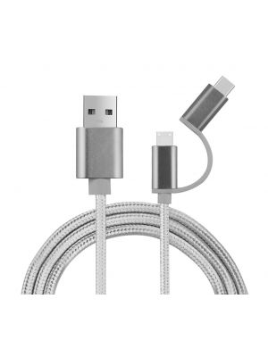3.3 Ft 2 in 1 USB Type C & Micro USB Charging Cable Data Cable for Android Deices,Type C Devices