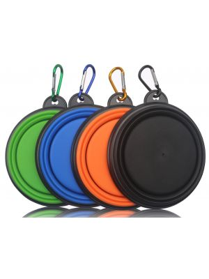 4 Pack Collapsible Travel Silicone Portable Pet Food Water Bowl with Carabiner--BPA Free