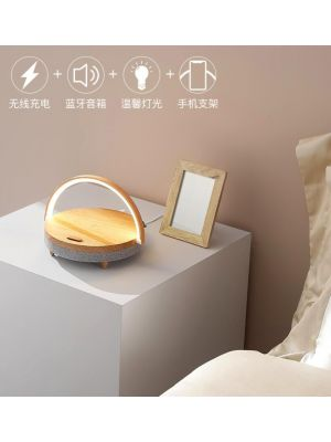 4 in 1  led warm light + bluetooth speaker + wireless charger + mobile stand