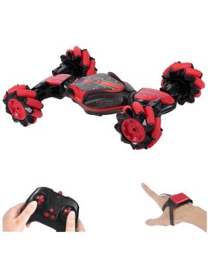 RC Stunt Car, 4WD 2.4GHz Remote Control Car, Deformable All-Terrain Off Road Car, 360 Degree Flips Double Sided Rotating Race Car with Gesture Sensor Watch Lights Music for Kids (Red)
