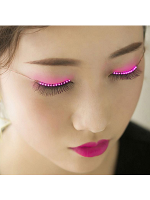 2017 Party Shining Charming LED Glowing Eyelashes-12 Modes-Unisex-Waterproof for Party/Night Club/Halloween-Pink