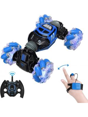 RC Stunt Car, 4WD 2.4GHz Remote Control Gesture Sensor Toy Cars, Double Sided Rotating Off Road Vehicle 360° Flips with Lights Music, Toy Cars for Boys & Girls Birthday