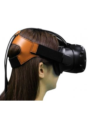 MIDWEC Replacement Head Strap for HTC VIVE VR Headset-Premium Brown Flannel and Leather