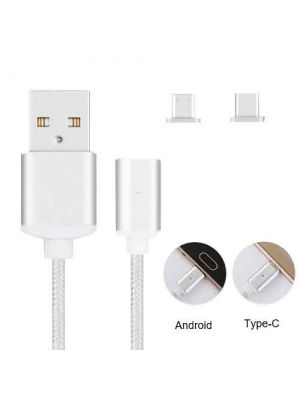 2 in 1 Magnetic Cable USB Data and Charging Lines Micro USB Type-C Android Device 1m
