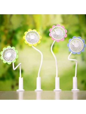 Portable USB Desk Clip Fan Personal Sun Flower Shape Fan with Adjustable Speed for Baby Stroller, Home,  Office