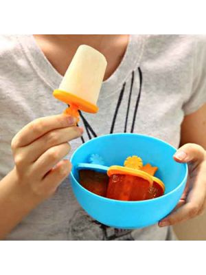Set of 6 Reusable Popsicle Molds Plastic Ice Pop Molds DIY Maker-Blue