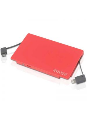 Ultra Thin 4000 mAh Power Bank With Built-in Cable Compatible With Both iPhone and Android Smartphones