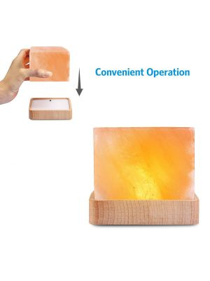 Natural Himalayan Crystal Salt Lamp, Natural Glow Pink Crystal Rock with USB Wood base, Elegant Design for Lighting and Decoration